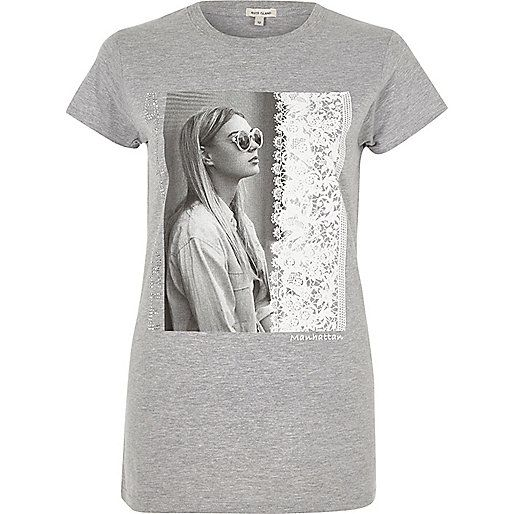 Outlet Cheap Online Cheap Eastbay Womens Grey fitted tie front T-shirt River Island Cheap Sale Prices Best For Sale Clearance Browse EjLSr3