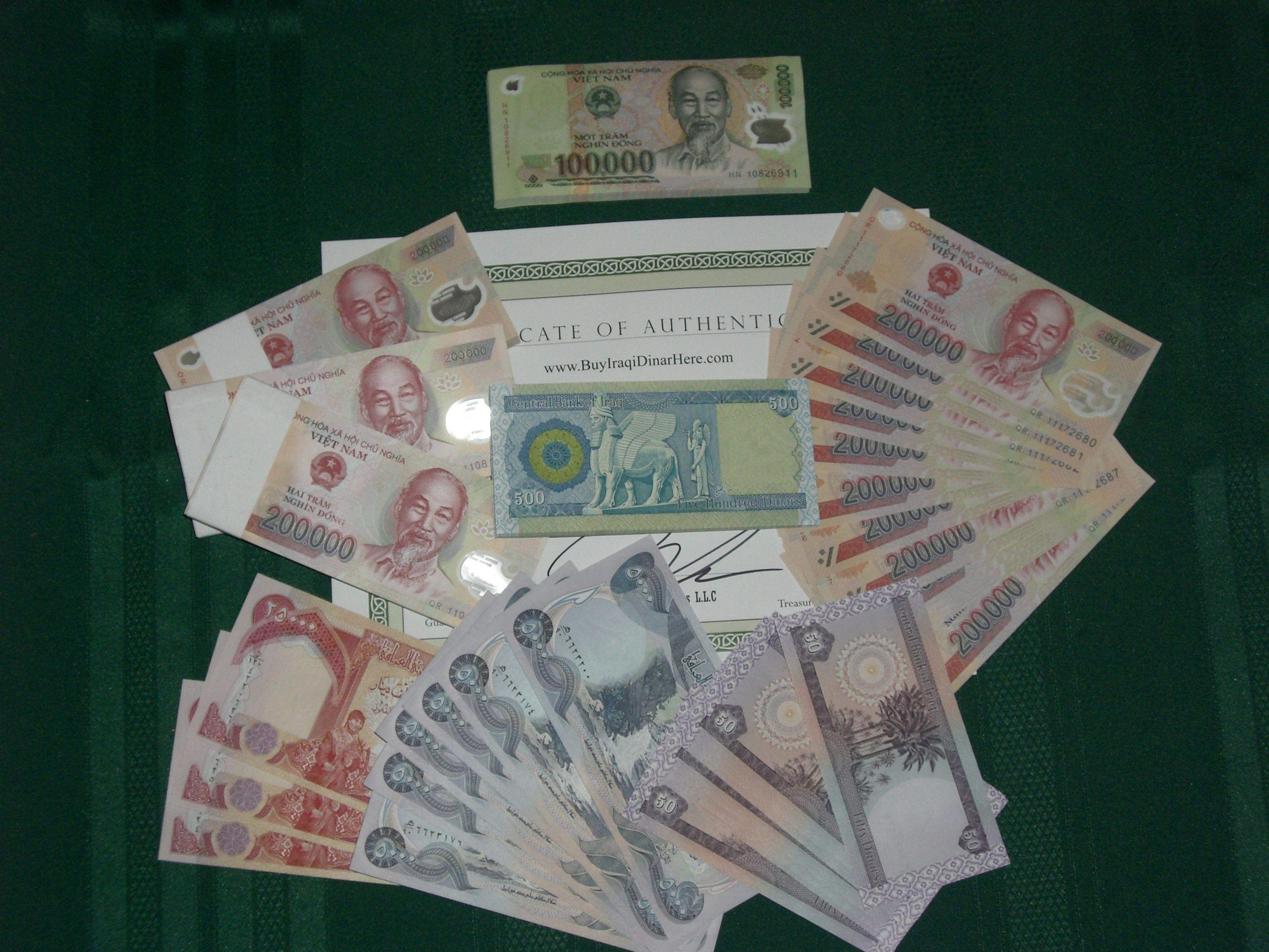 Iraqi Dinar Vietnam Dong Coa Certificate Of Authenticity Iraqidinar