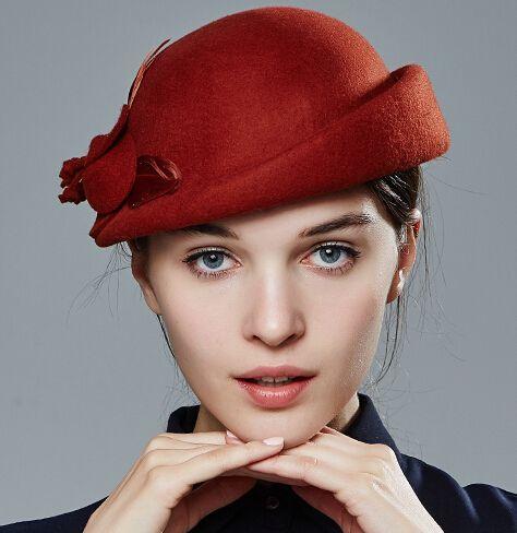 cbfe0771d4d98 Elegant handmade flowers beret hat for women feather decorative ...