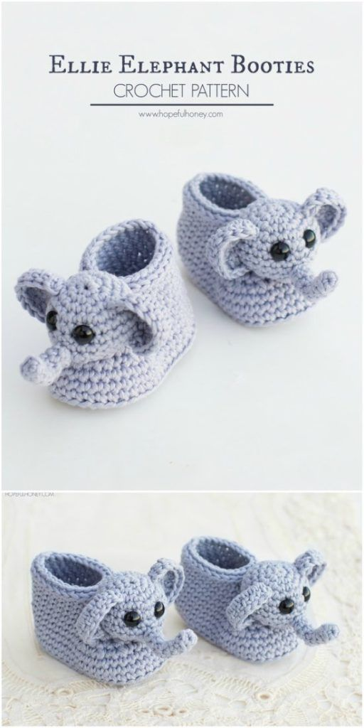 Ellie The Elephant Baby Booties - Free Crochet Pattern | Crafts ...