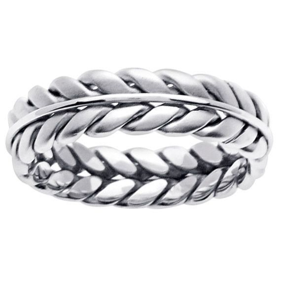 18K White Gold Hand Braided Wedding Ring Band, For the Bride and Groom