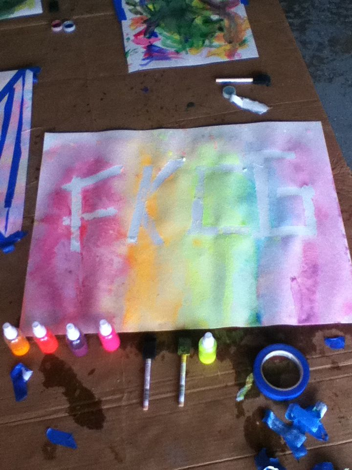 Paint Splatter So I Used A Poster Board And I Made My Initials With Blue Painters Tape Then I Got Some Spray Painting For Kids Paint Splatter Poster Board