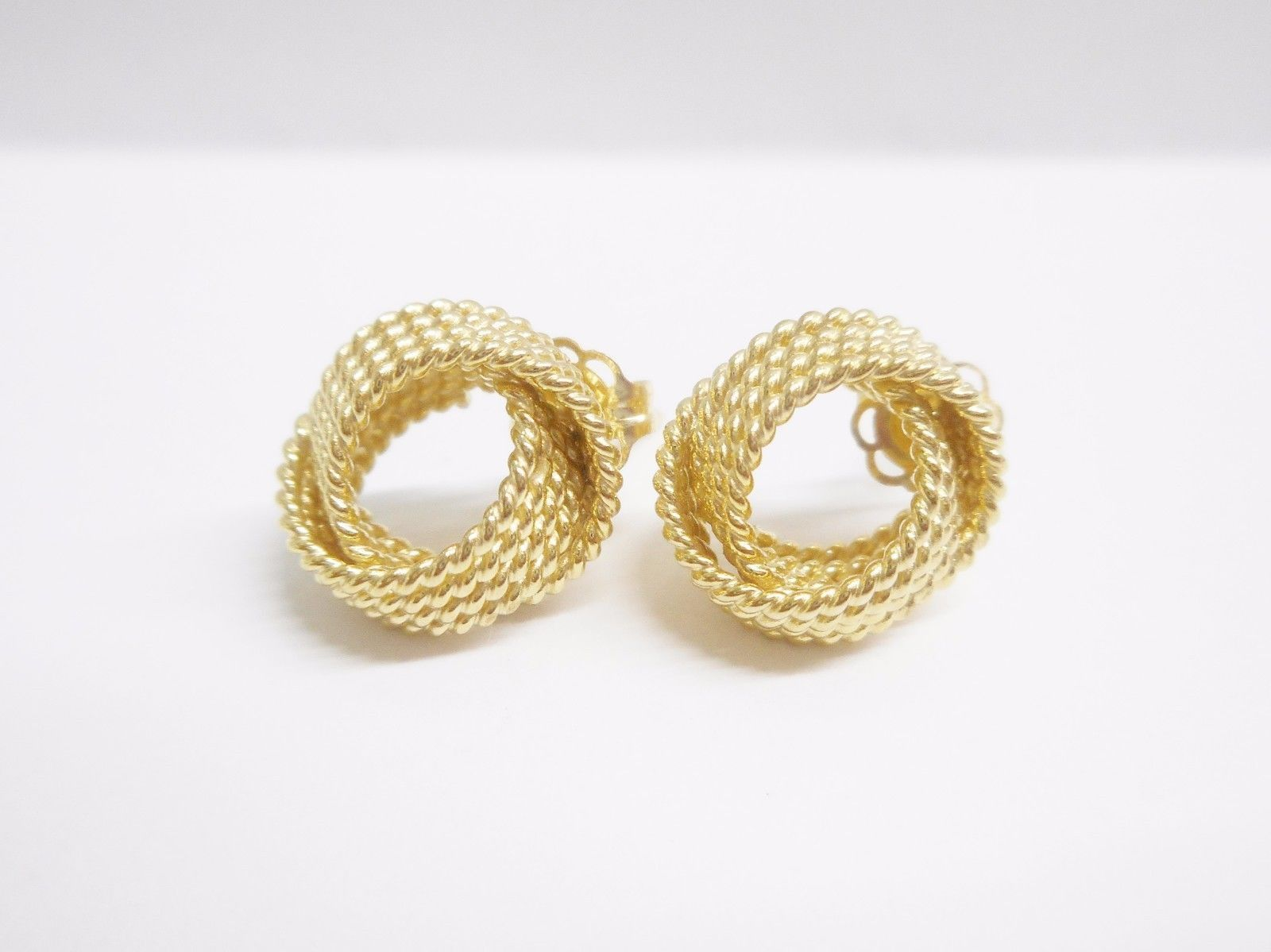 Genuine 14k Yellow Gold Knot Design Stud Post Earrings #2631
