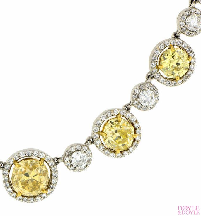Diamond riviere necklace detail, set with beautifully matched antique yellow diamonds. In platinum, from Doyle & Doyle.