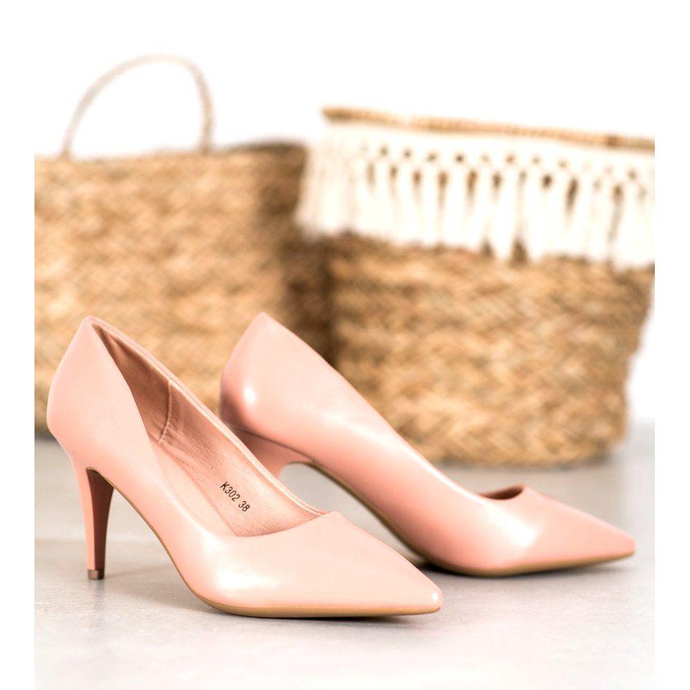 Shelovet Eleganckie Szpilki Z Eko Skory Rozowe Heels Shoes Sling Backs