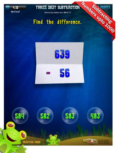 Second Grade Math Apps Three digit subtraction
