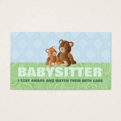 Cute Babysitter Business Cards - kids kid child gift idea diy ...