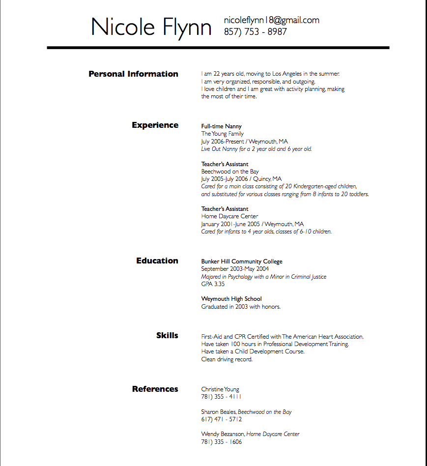 Nanny Resume Sample Babysitter Resume Sample  School  Pinterest  Resume Examples