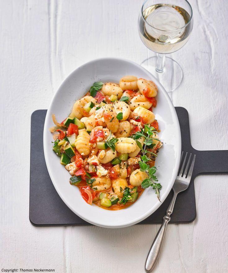 Gnocchi-Zucchini-Pfanne mit Schafskäse #zucchinipastarecipes
