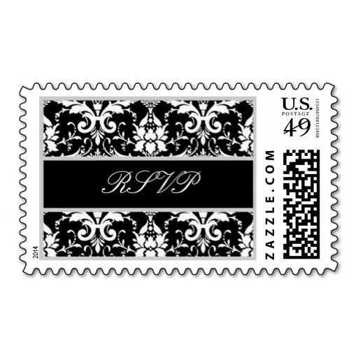 Black White Silver Ornate Scroll Wedding RSVP Postage Stamp. This is a fully customizable business card and available on several paper types for your needs. You can upload your own image or use the image as is. Just click this template to get started!