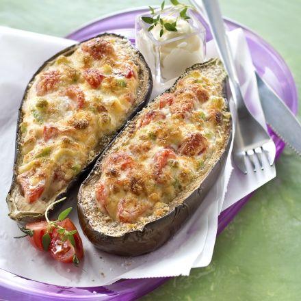 Recette de aubergines farcies gratin es au parmesan avec amora food and drink pinterest - Recette avec aubergine grillee ...