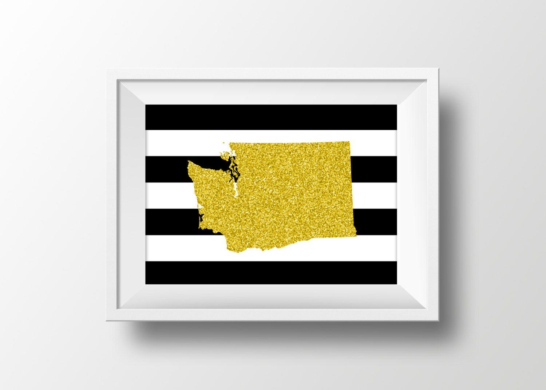 Washington Wall Art -- Black & Gold Glitter, Silhouette, Modern Home ...