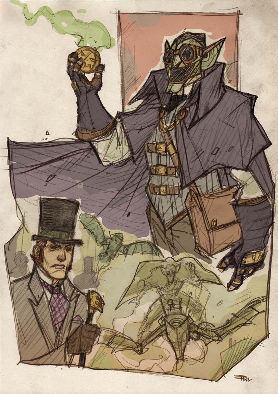Steampunk Spider-Man and his nemesis, Victorian-era Green Goblin - via www.StephenHunt.net