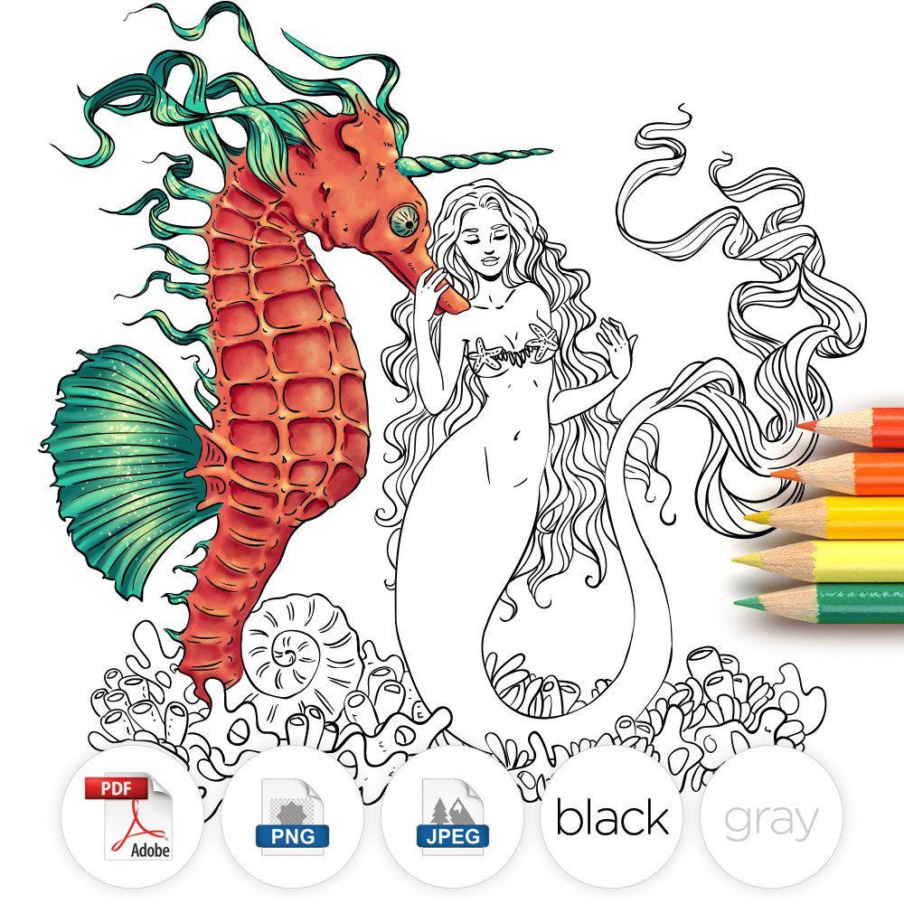 Mermaid Seahorse Line Art by Gloria Piñeiro Muñiz (LineArtsy ...