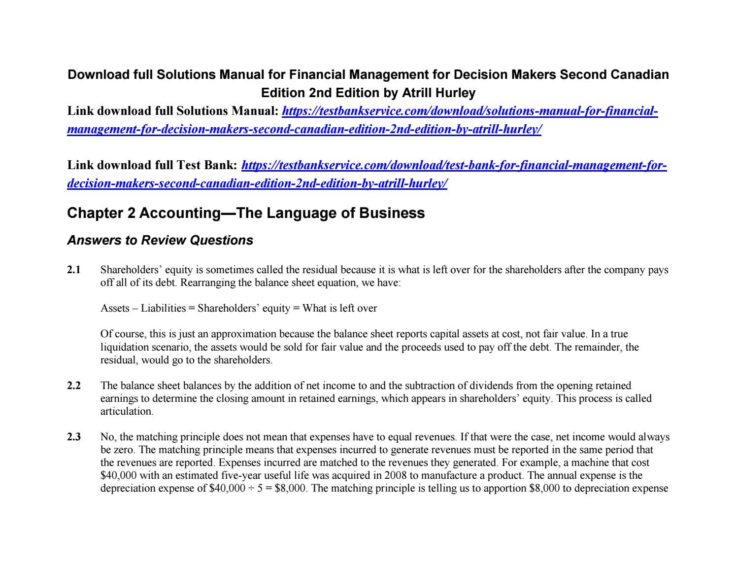 Solutions manual for financial management for decision makers second  canadian edition 2nd edition