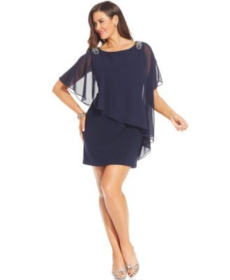 Xscape Plus Size Embellished Capelet Mini Dress | macys.com ...