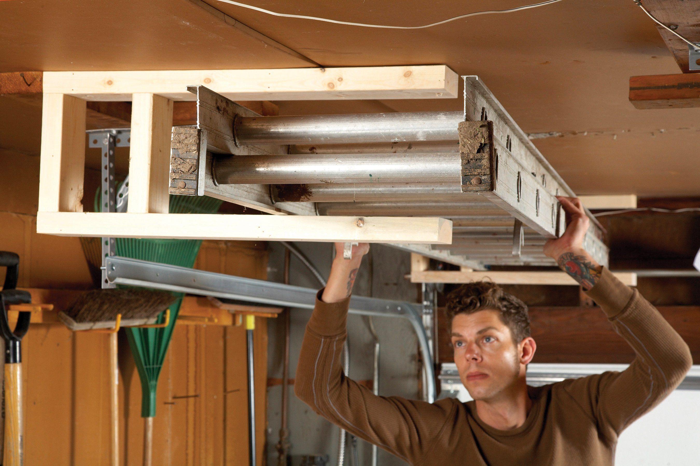 sneak peek ingenious garage storage ideas ladder on cheap diy garage organization ideas to inspire you tips for clearing id=56850