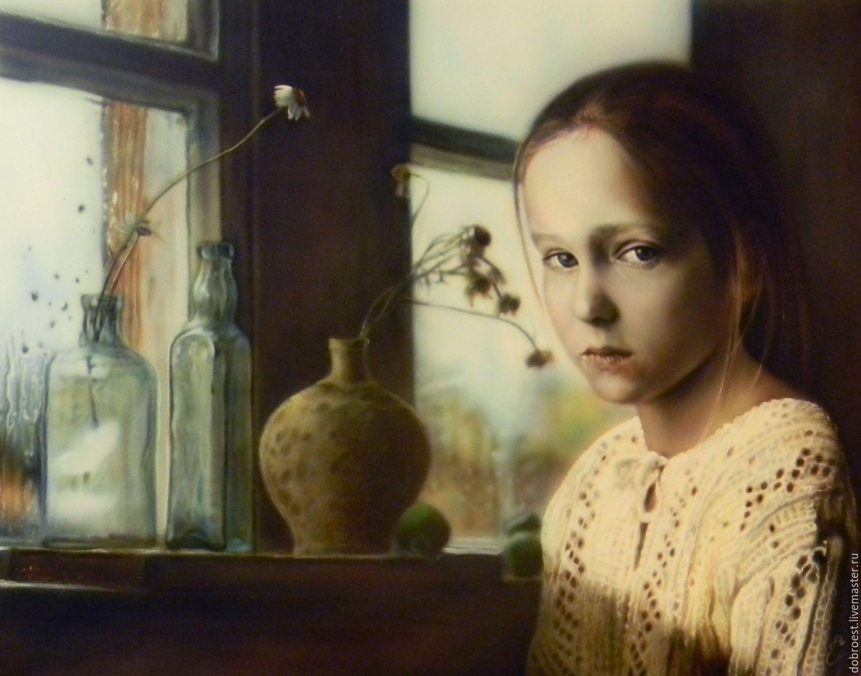 Купить Ромашки. - коричневый, ромашки, окно, дождливая погода, портрет, капли дождя на стекле