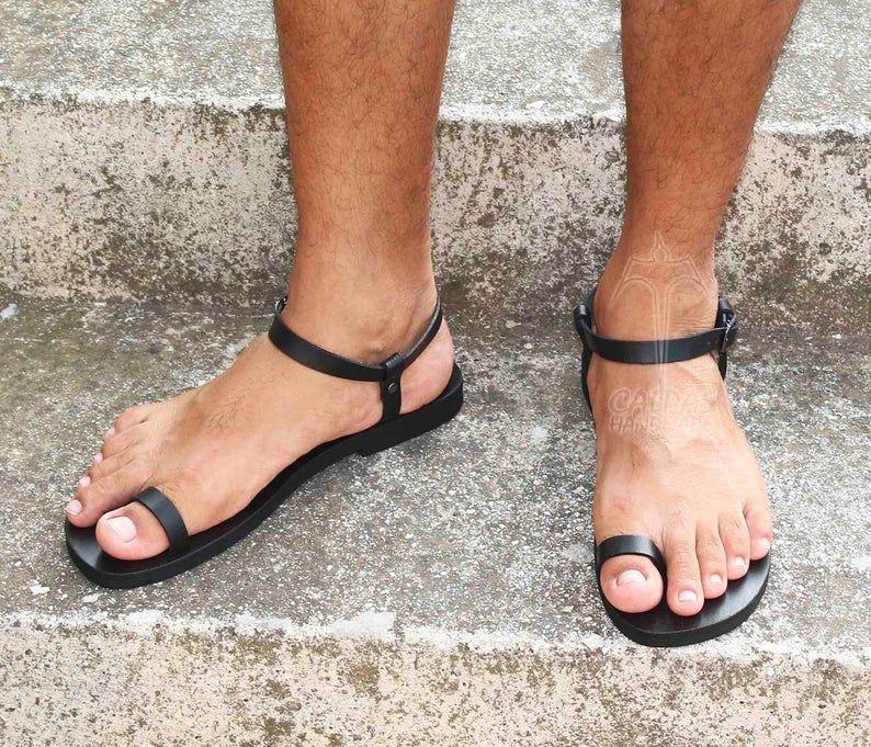DREAM M leather toe ring sandals barefoot men sandals