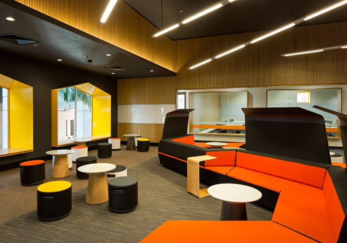 Colourful Collaboration Spaces At QUT. #architecture #design #education  #interiordesign