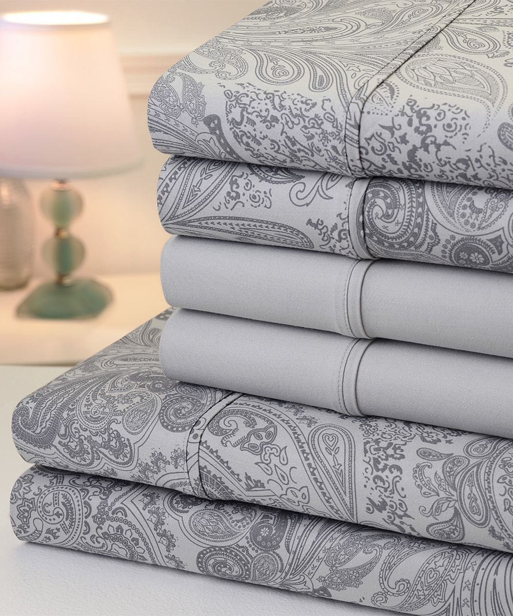 Silver paisley sixpiece thread count sheet set products