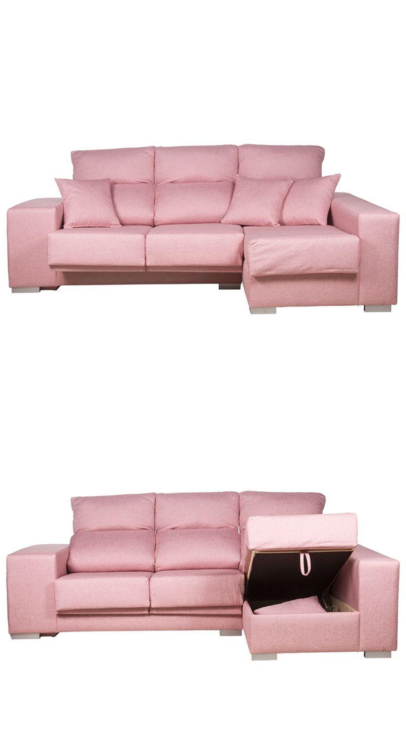 Sofá Chaise Longue Índica, rosa | 515,40 € | Sofás y Sillones ...