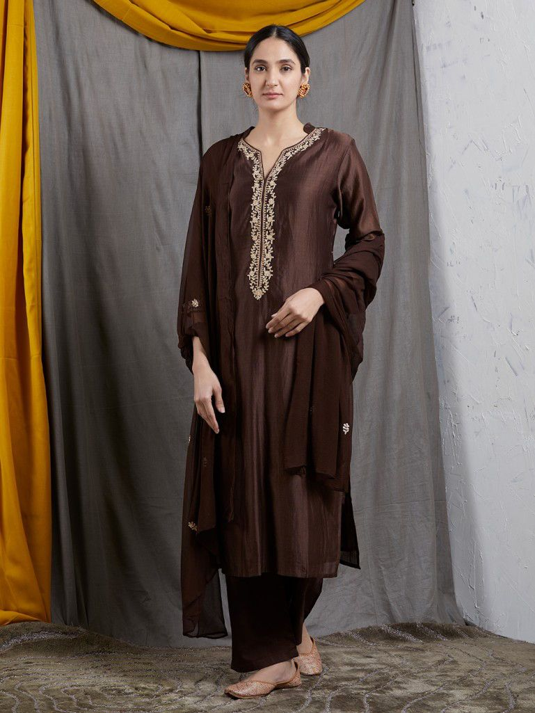 df9fbbe002 Brown Embroidered Chanderi Silk Kurta with Cotton Silk Pants and Chiffon  Dupatta- Set of 3