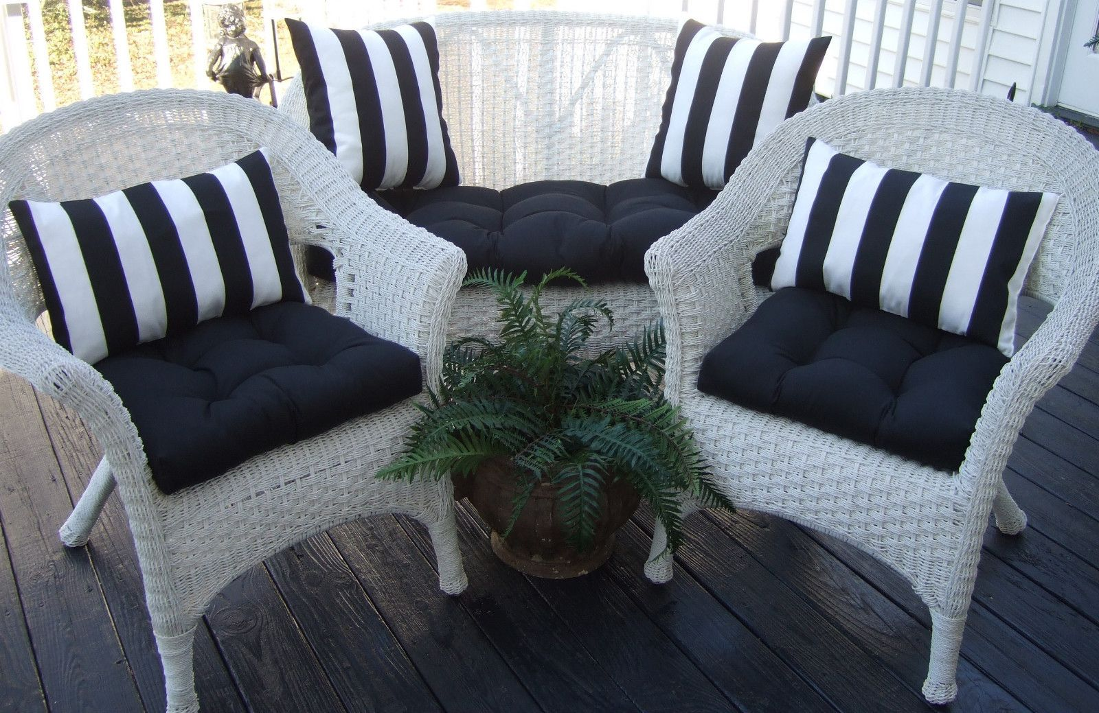 Wicker outdoor cushions black solid and black & white stripe pillows ...