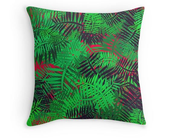 Jungle Pattern Throw Pillow, Green and Red Leaves Scatter Cushion, 16x16 18x18 20x20, Home Decor, Cushion Cover #junglepattern