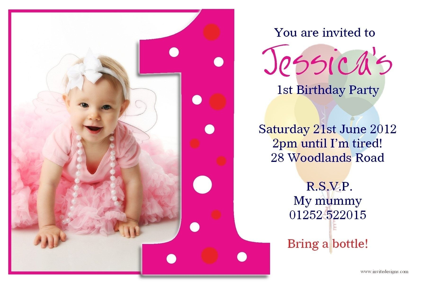 1st Birthday Invitation Card Template Free Download Templates Corner Photo Birthday Invitations 1st Birthday Invitations Girl First Birthday Invitation Cards