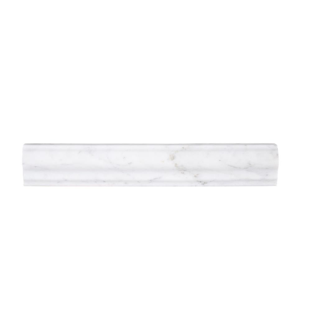 Jeffrey Court Carrara 2 In X 11 7 8 In Honed Marble Rail Trim 98992 The Home Depot Honed Marble Jeffrey Court Carrara