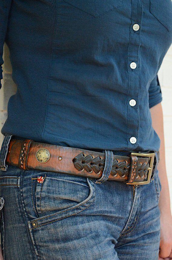 c7bf80f9b43e Womens leather belt Western belt Rustic leather belt for women Cowgirl belt  Womens belt Boho belt Ca