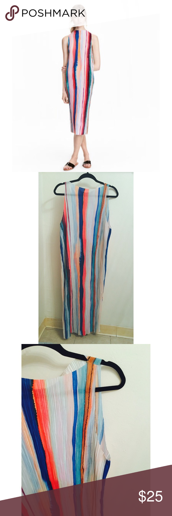 H&M multicolor striped dress! Pleated • light fabric • to short slits on either side at the bottom of the dress • only worn a few times H&M Dresses
