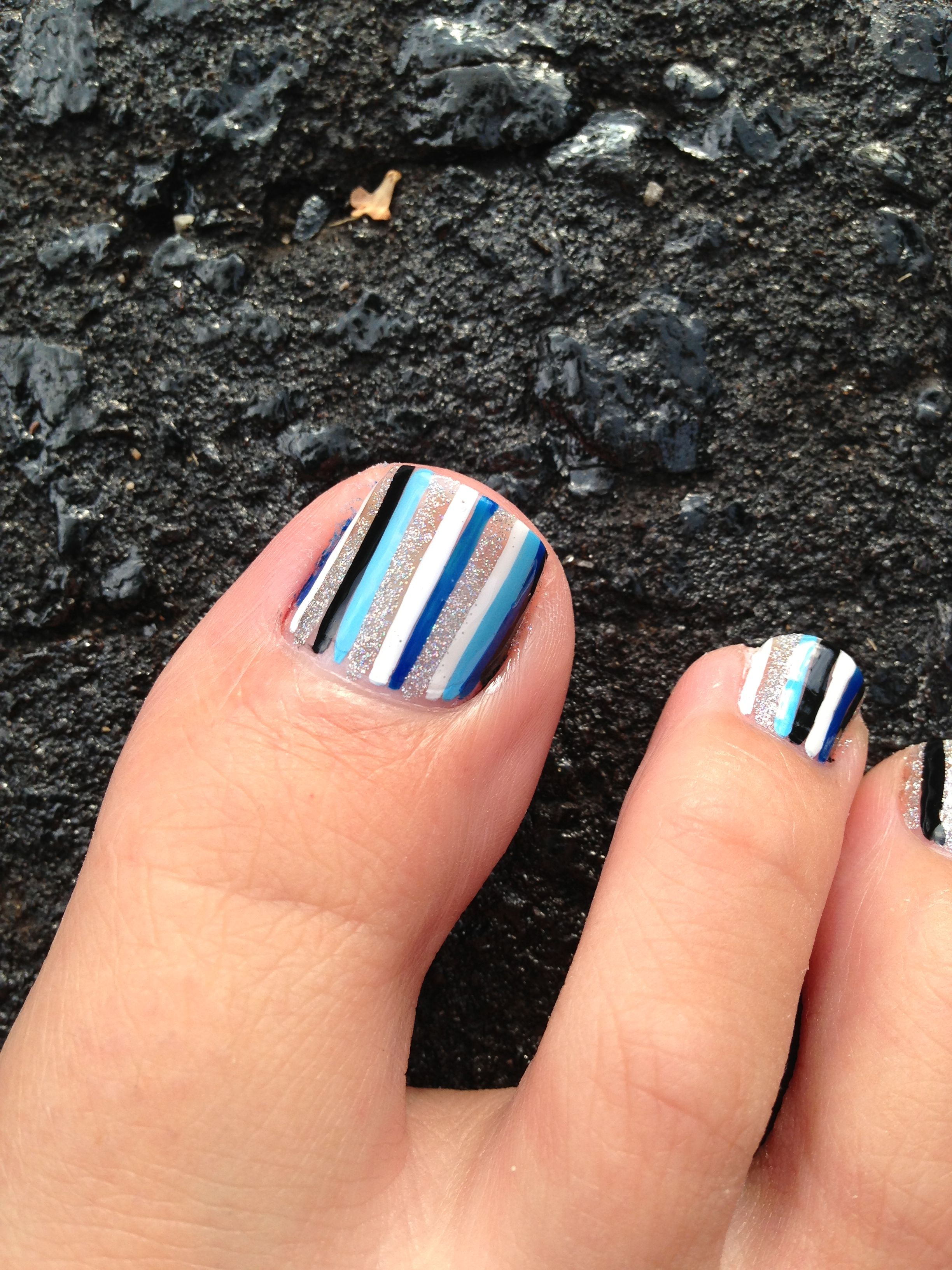 My striped toes! 5 colours
