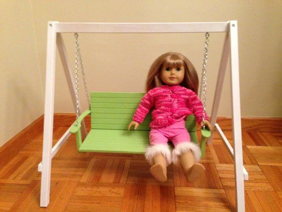 Items similar to Garden Swing American Girl Doll Hardwood Handcrafted 18 Doll Furniture on Etsy #americangirldollcrafts