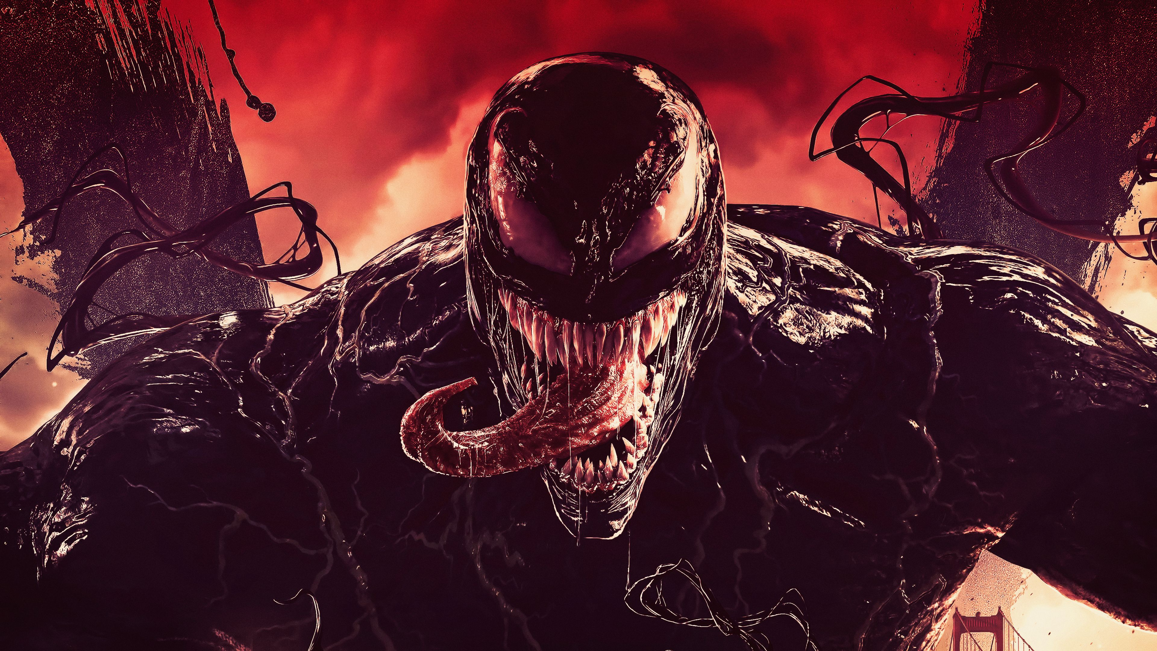 General 3840x2160 Venom Comics Artwork Saliva Marvel Comics Horror Transformation Carnage Red Digital Art Spider Tongue Digital Art Fantasy Art Comics Artwork