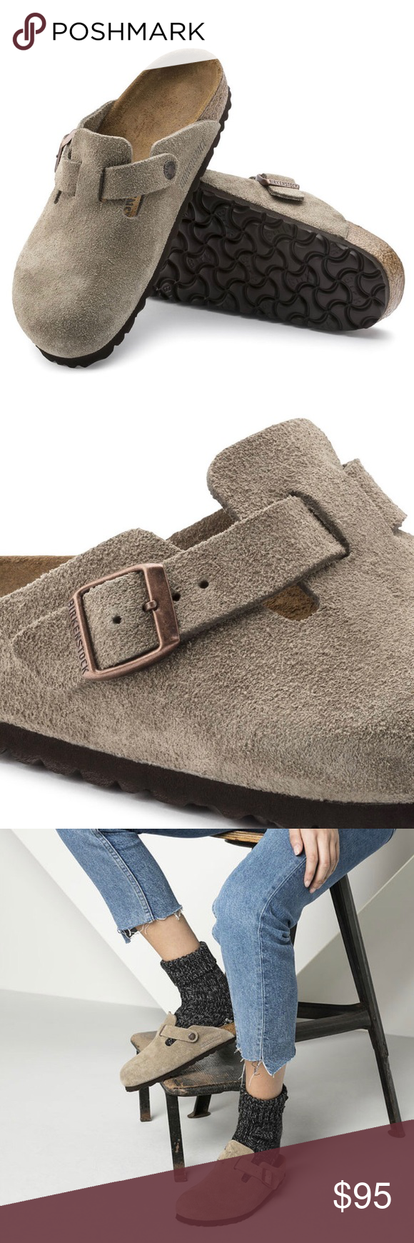 8e5b57b0a297 Birkenstock Boston clog taupe suede 39 regular Comfortable suede clogs