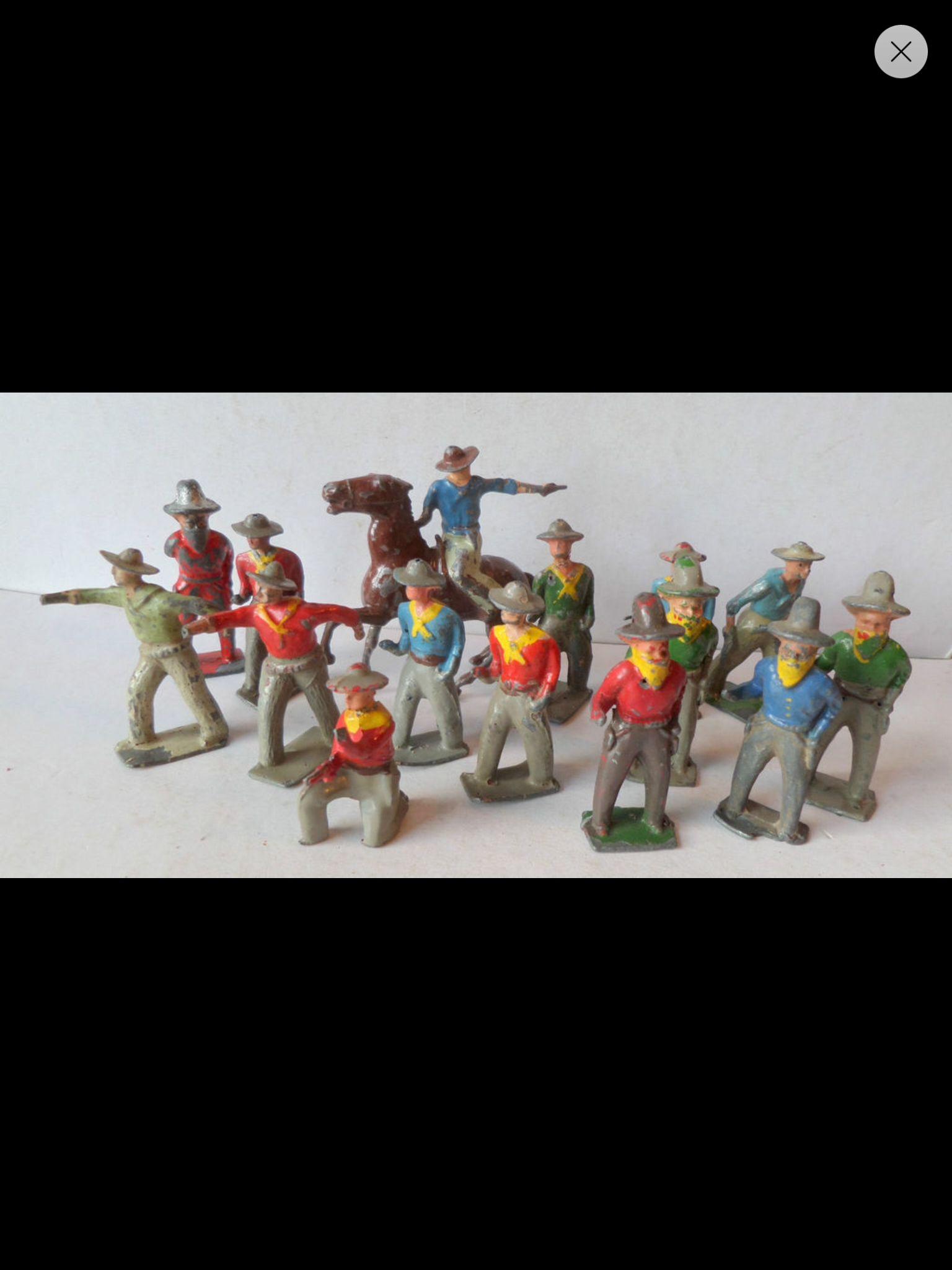 Soldat plomb cowboys lead toys vintage