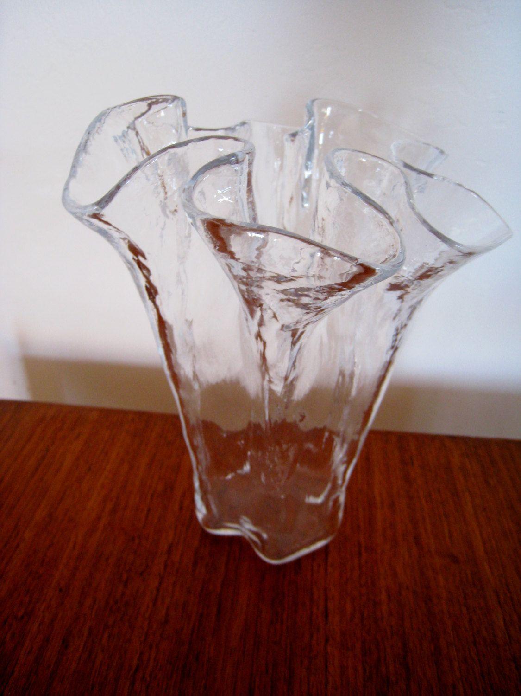 Scandinavian Glass Vase By Muurla Of Finland Ruffled Hand Blown Art Glass Perfect Condition Glass Glass Vase Modern Glass Vases