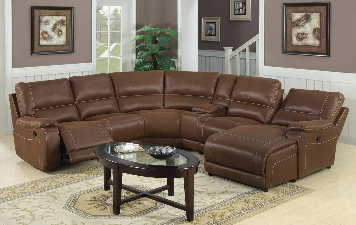 Reclining Sectional Sofa With Chaise And Oval Table In Living Room Jpg 1200