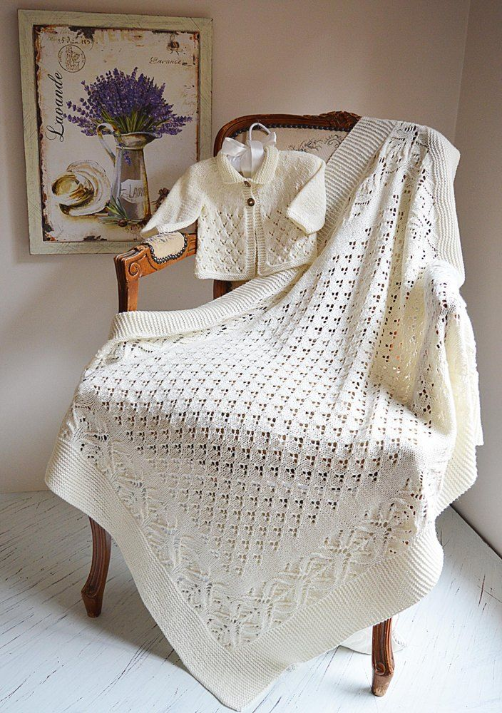 Lace and Diamond Heirloom Blanket and matching Jacket - P098 | Manta ...