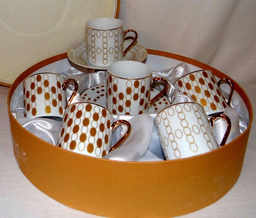 Classic Coffee & Tea Espresso Cups & Saucers White & Gold