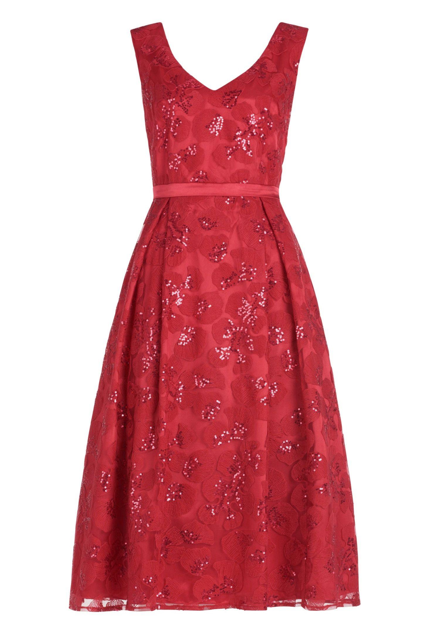 Wunderschönes rotes Kleid in Midi-Länge! Tolles Kleid aus ...