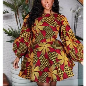 African summer dress with exaggerated sleeves/Anka
