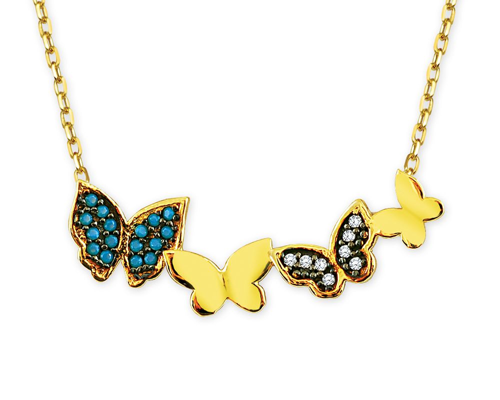 14 Karat Gold Zircon Turquoise Stone Butterfly Model Necklace