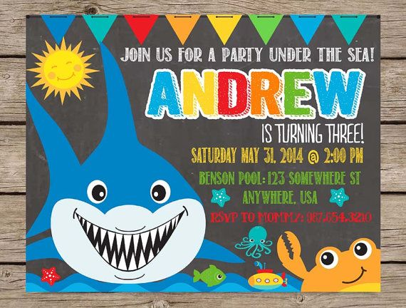 Under The Sea Chalkboard Invitation Birthday Invite PRINTABLE Summer Party Beach Pool First Boy Kids Quotes