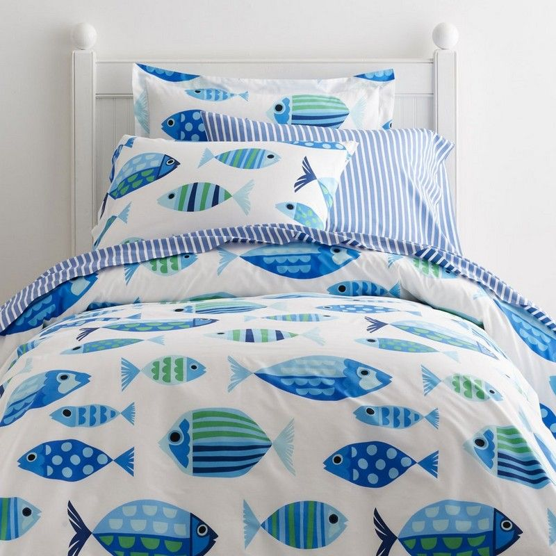 charming kids duvet cover designed with schools of graphically patterned fish in vibrant marine tones made from soft cotton percale the company store