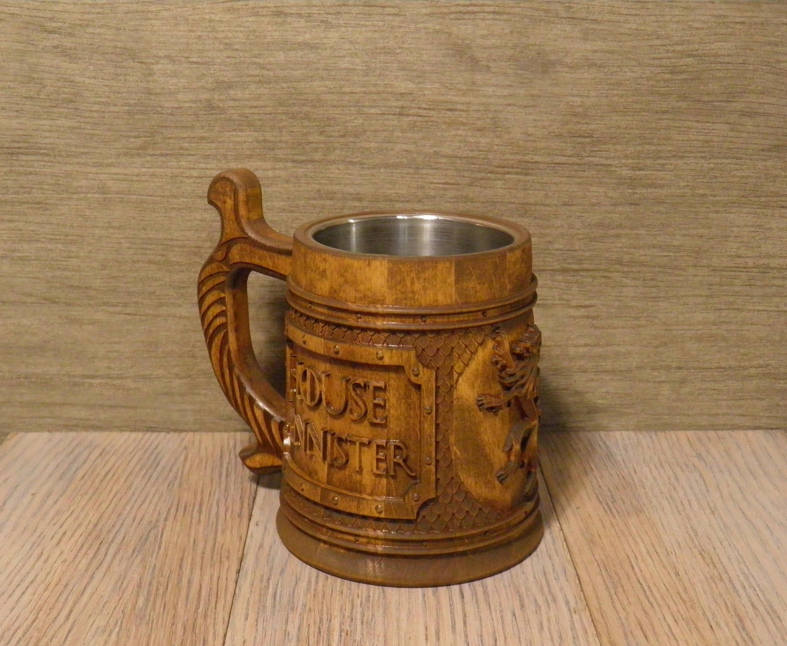 Game of Thrones wooden beer mug, gift for him, House