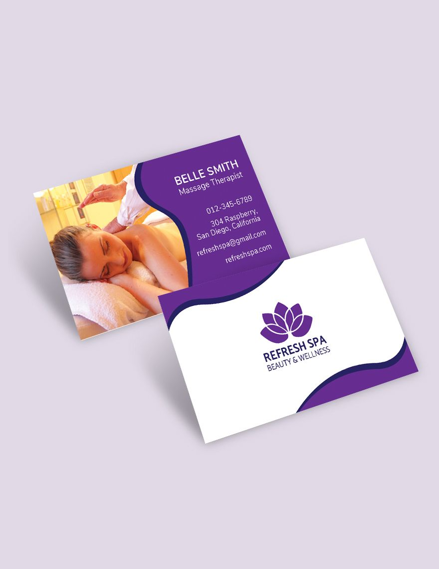 Free Spa Center Business Card Template Free Templates In Massage Therapy Massage Therapy Business Cards Massage Therapy Business Free Business Card Templates