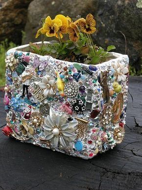 Grandma's costume jewelry may not last outside, but could do inside vases.